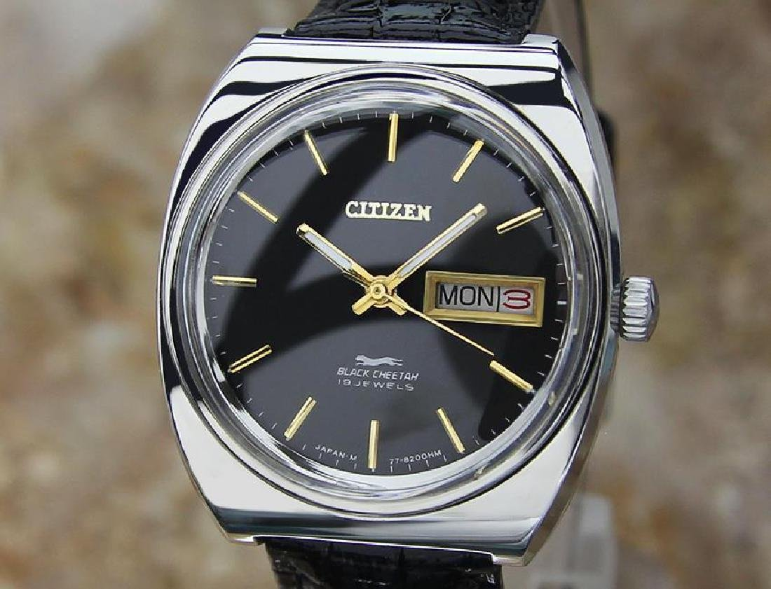 Citizen Black Cheetah Vintage Rare Stainless Steel
