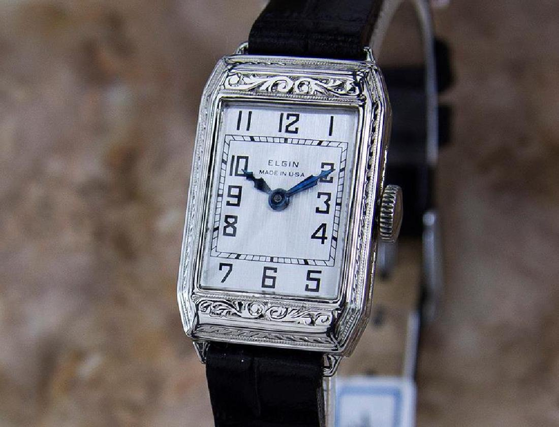 Elgin Rare 1920 USA Ladies White Gold Plated Luxury