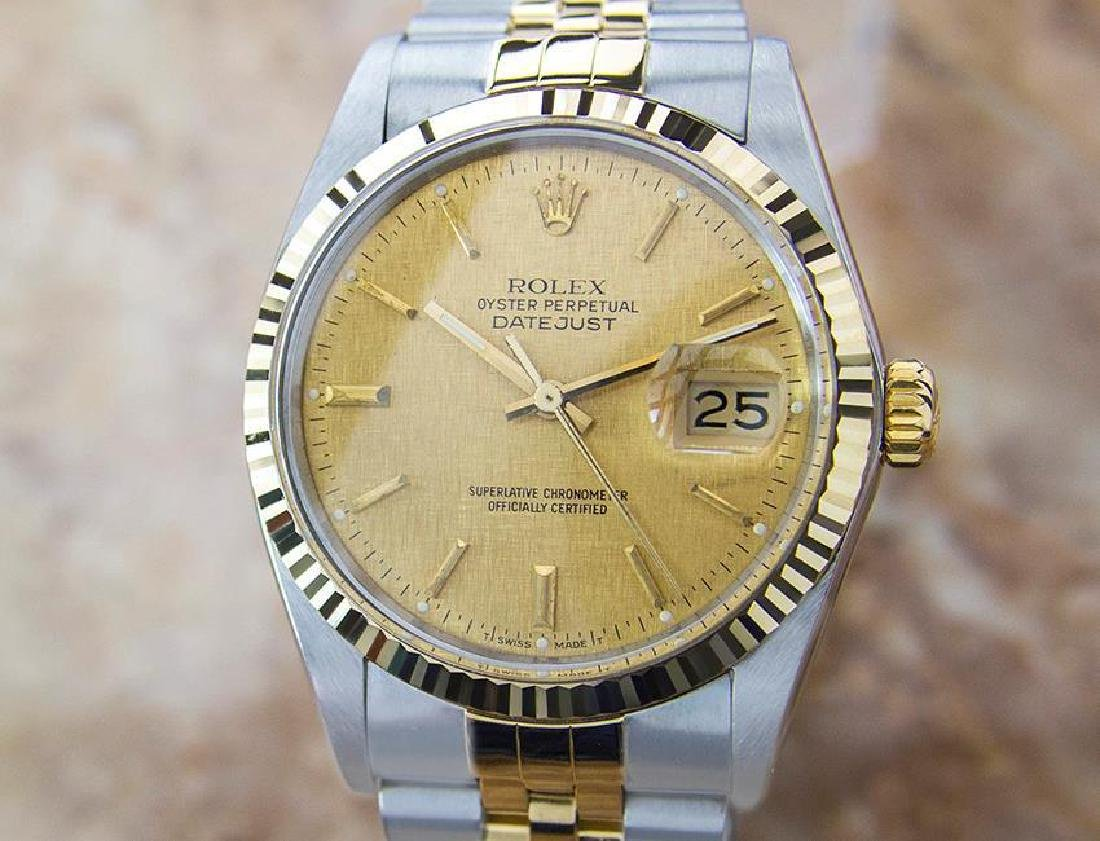Rolex 16013 Quickset Datejust 1985 Stainless St And 18K
