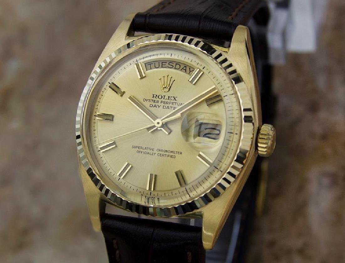 Rolex 1803 Swiss 18K Solid Gold Mens 1977 Day Date