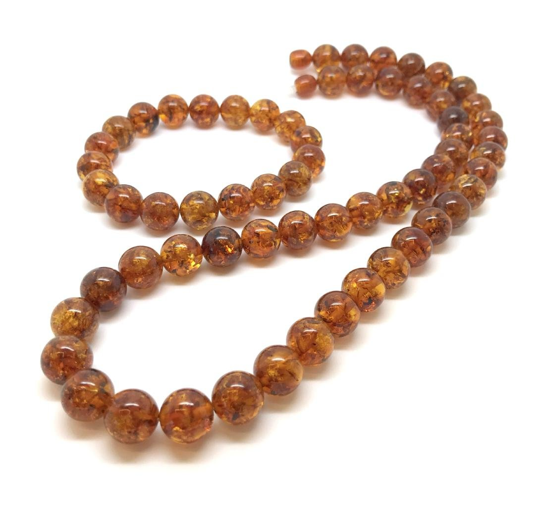 Baltic amber necklace & bracelet beads ø10mm, weight 38