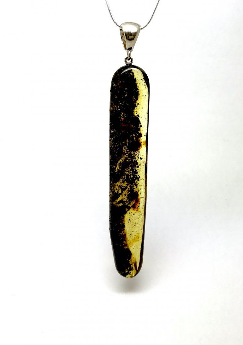 Old sterling silver and Baltic amber pendant 10cm, 13.6