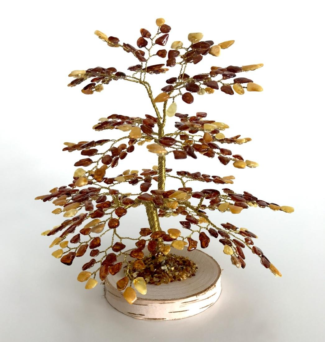 Handicrafted luck bonsai Baltic amber tree oak shaped