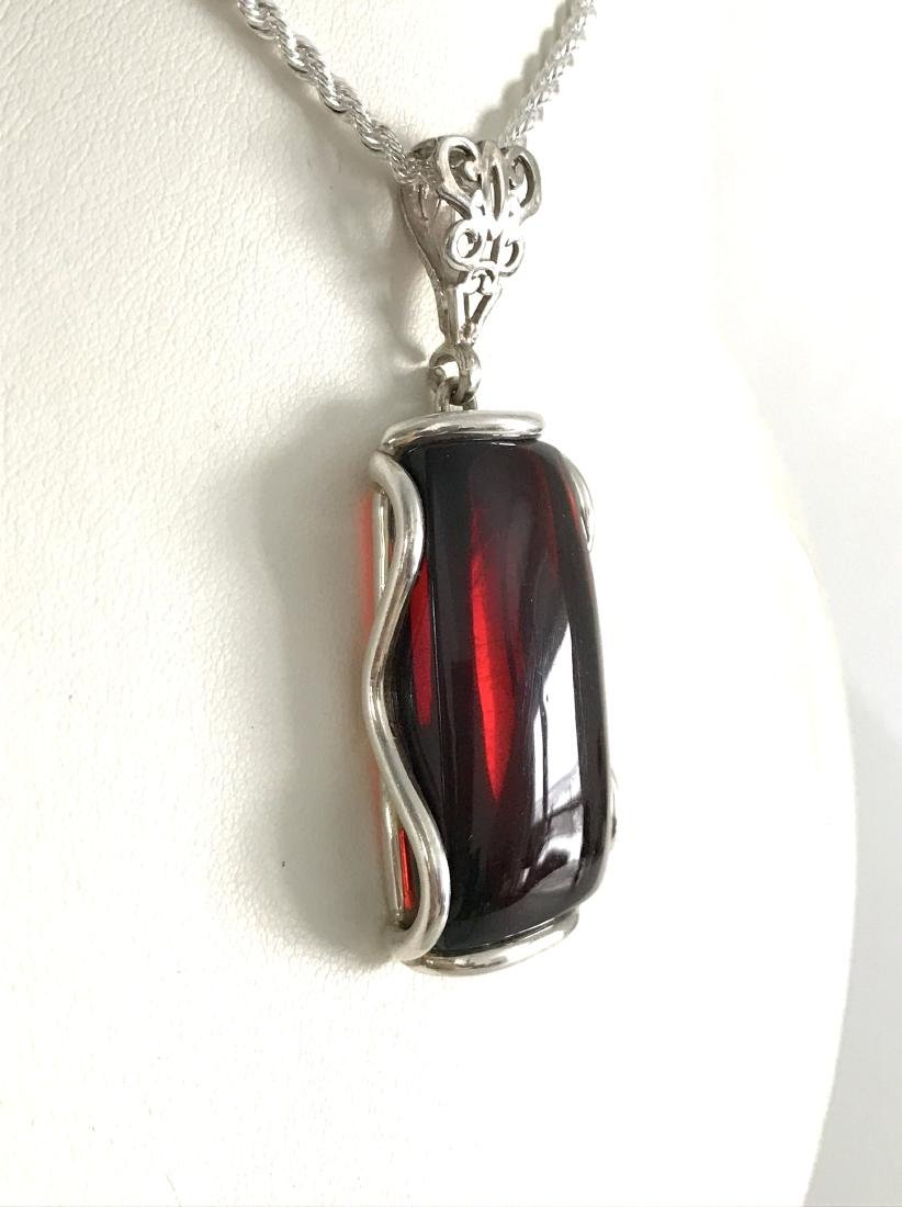 Vintage silver pendant 62x24mm with Baltic amber