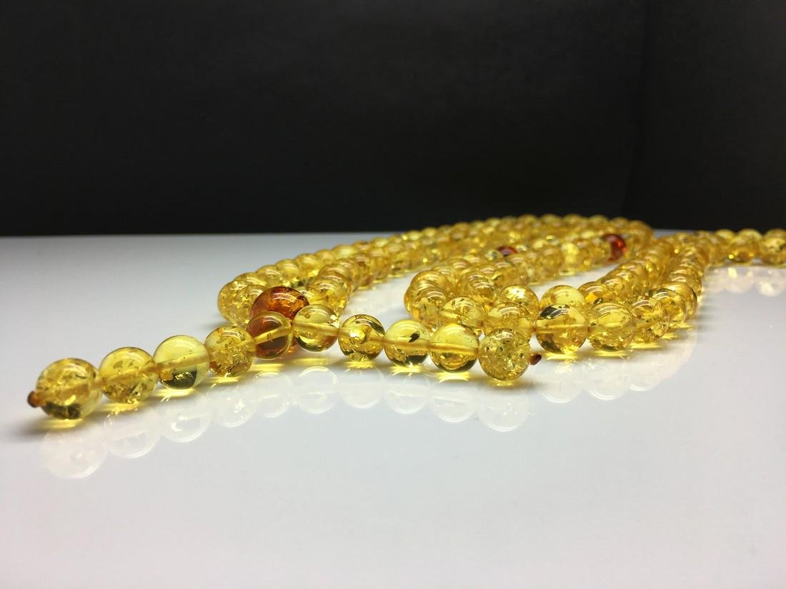 Natural Baltic Amber Lucky Mala necklace shiny lemon