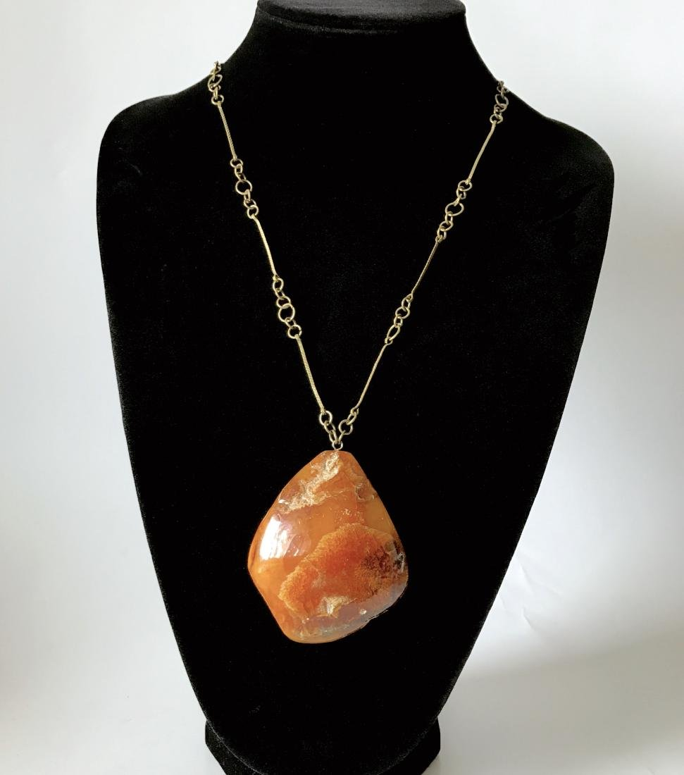 Antique Baltic Amber cut pendant with chain, weight
