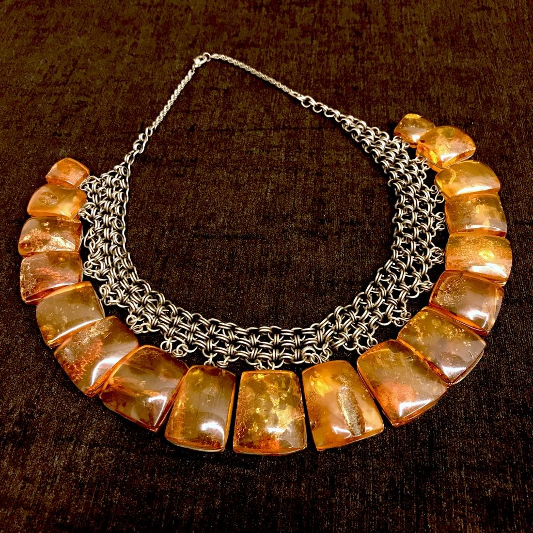 Antique collar necklace with large Baltic Amber