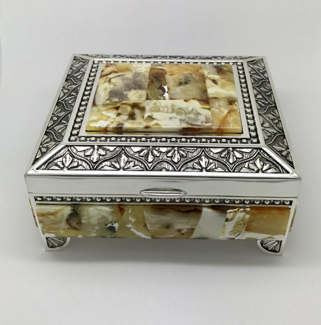 Box chest with Baltic amber inlay, 113x102x60mm, 448 gr