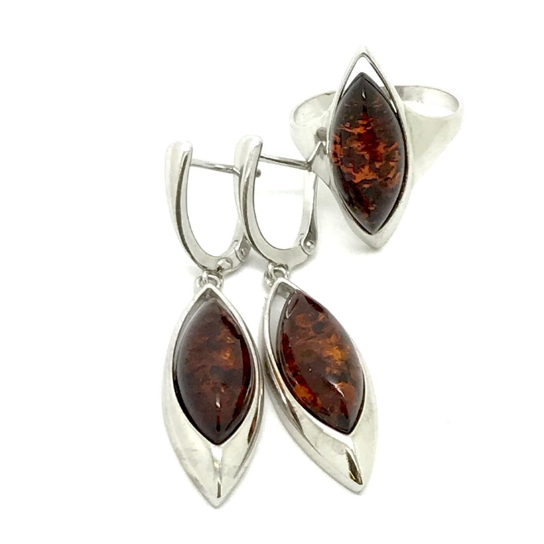 Sterling silver 925 set with Baltic amber : hanging