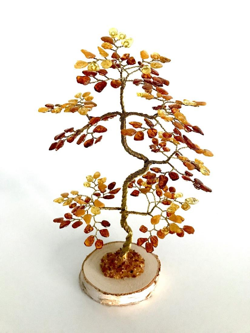 Handicrafted luck bonsai Baltic amber tree pine shaped