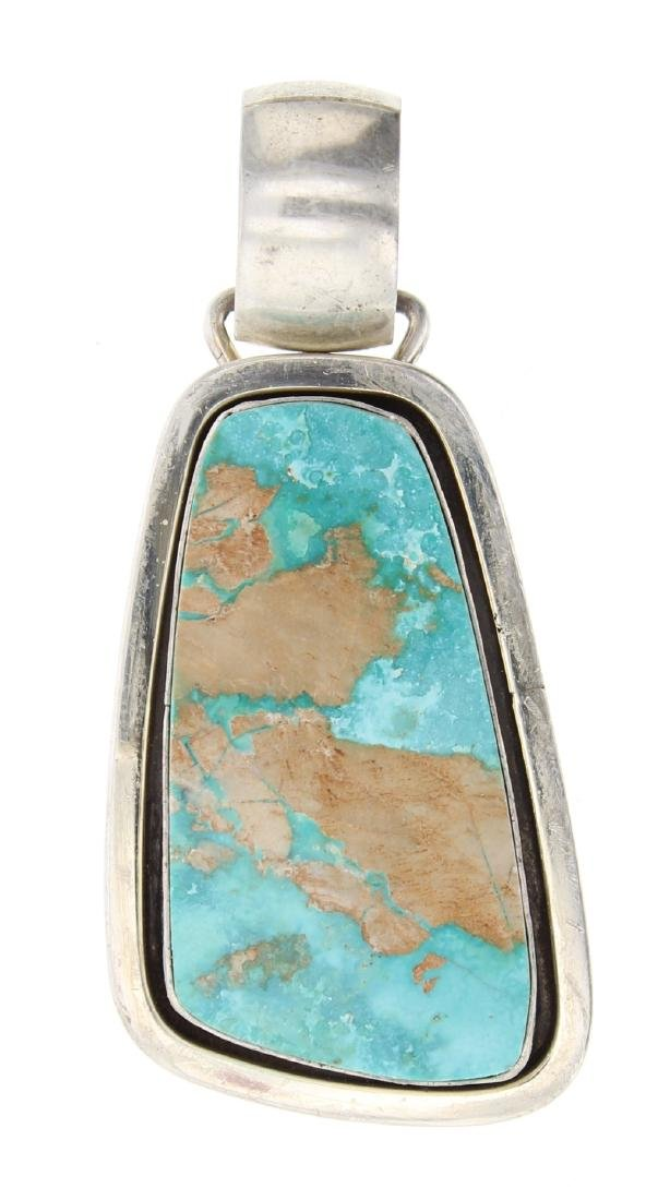 Silver Turquoise Pendant Navajo