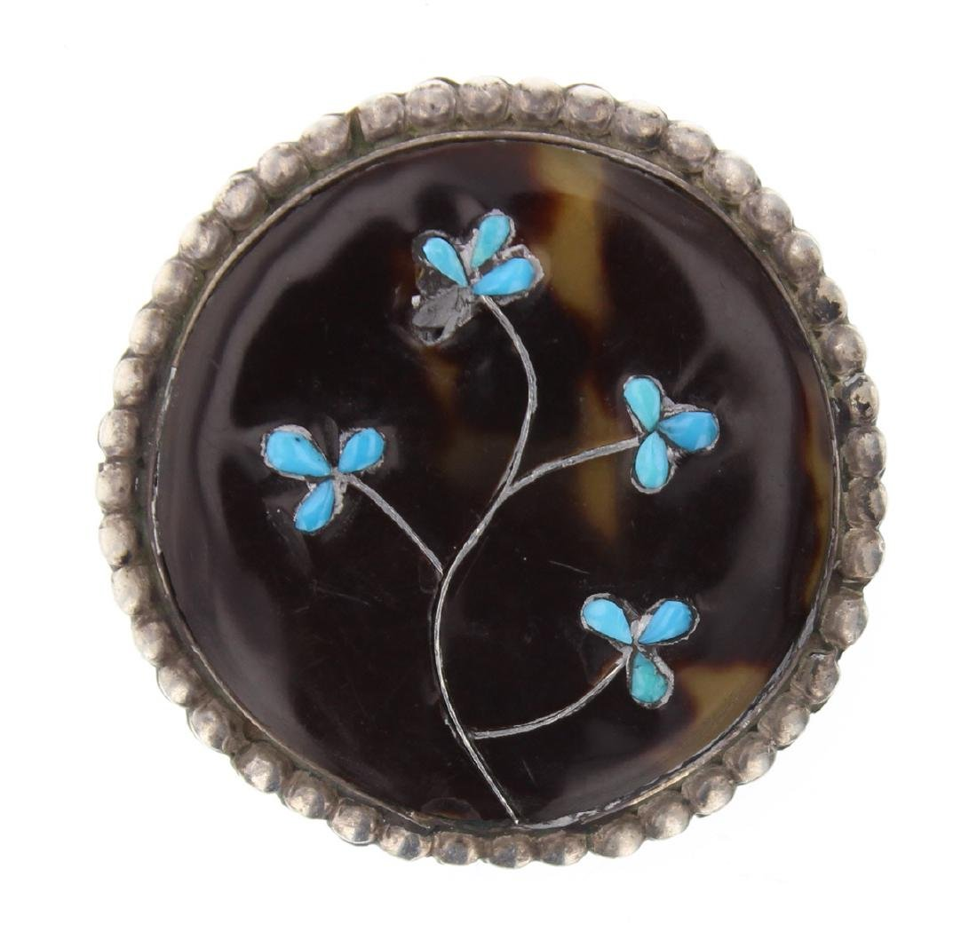 Antique Silver Turquoise Flower Pin Navajo