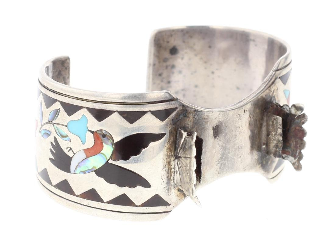 Silver Turquoise & Coral Inlay Watch Bracelet Zuni