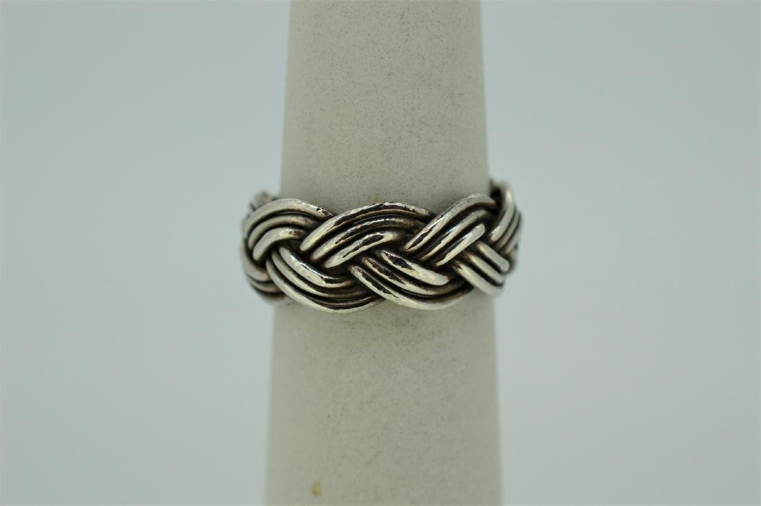 Mexican Silver Woven Braided Ring