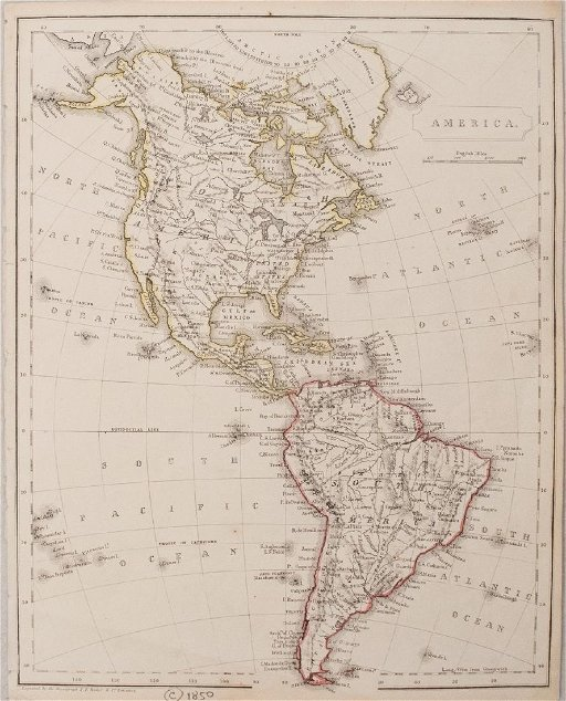 Becker: Antique Map of North and South America, 1850