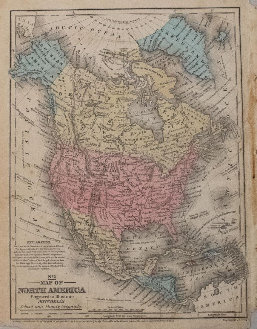 Mitchell: Antique Map of North & Central America, 1852