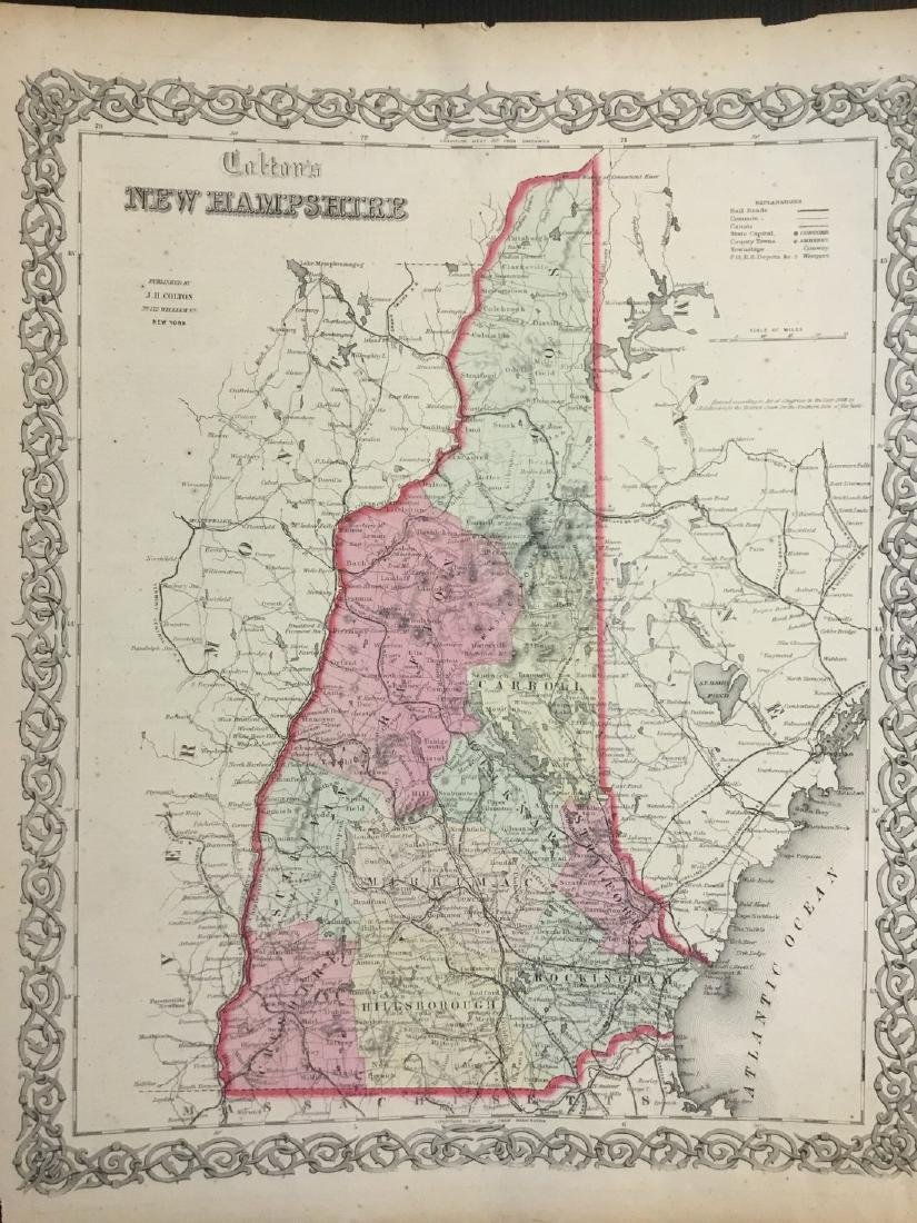 Colton: Antique Map of New Hampshire, 1861