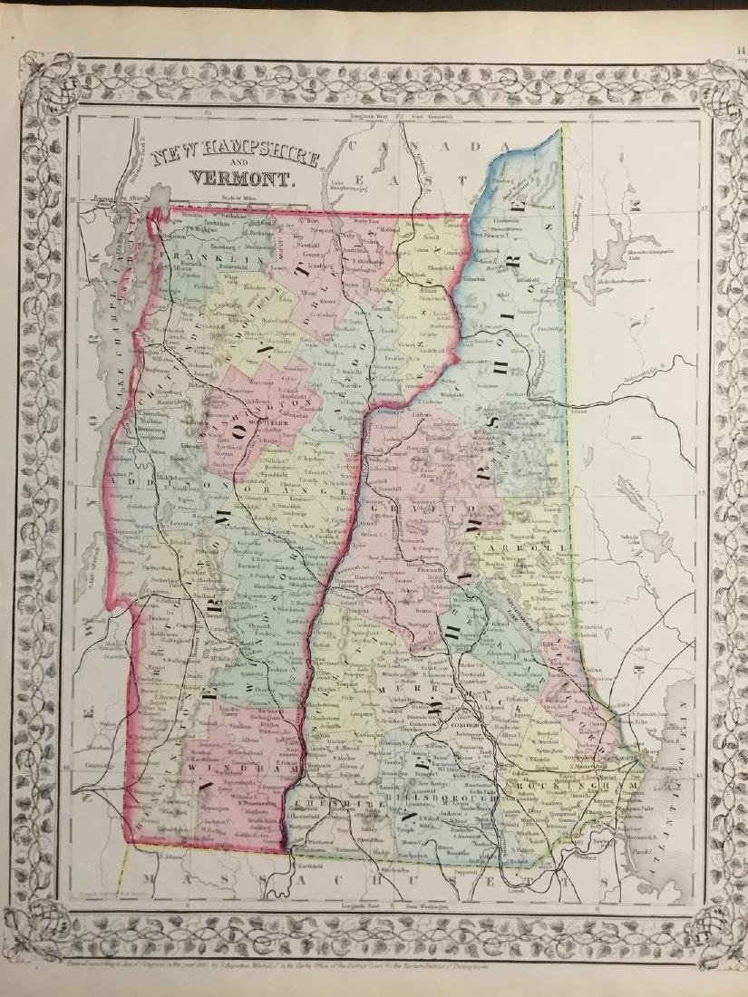Mitchell: Map of New Hampshire & Vermont, 1869