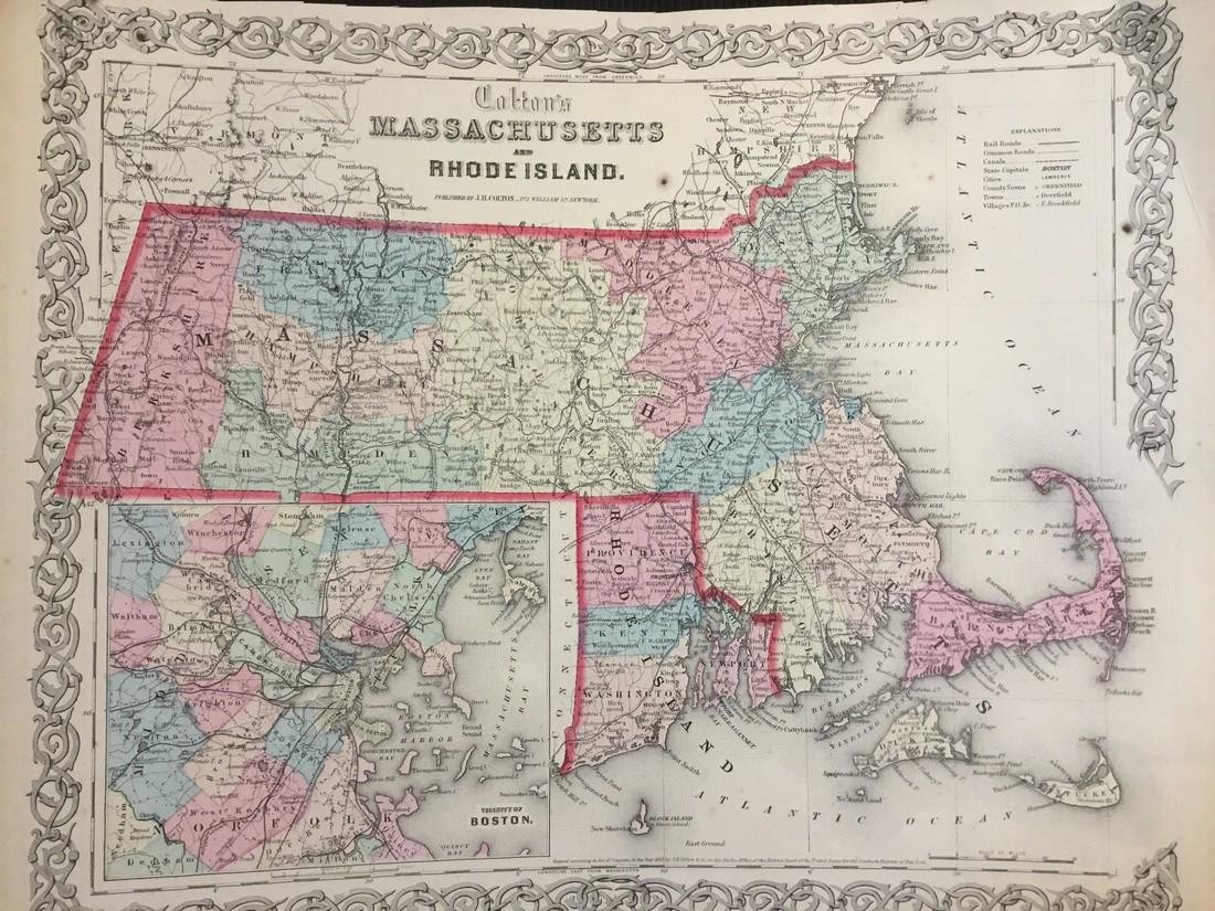 Colton: Antique Map of Massachusetts & Rhode Island