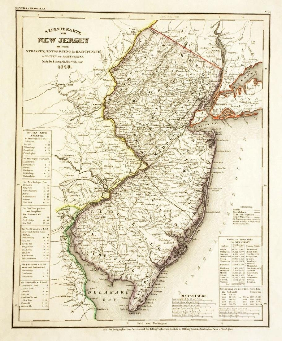 Meyer: Antique Map of New Jersey, 1846