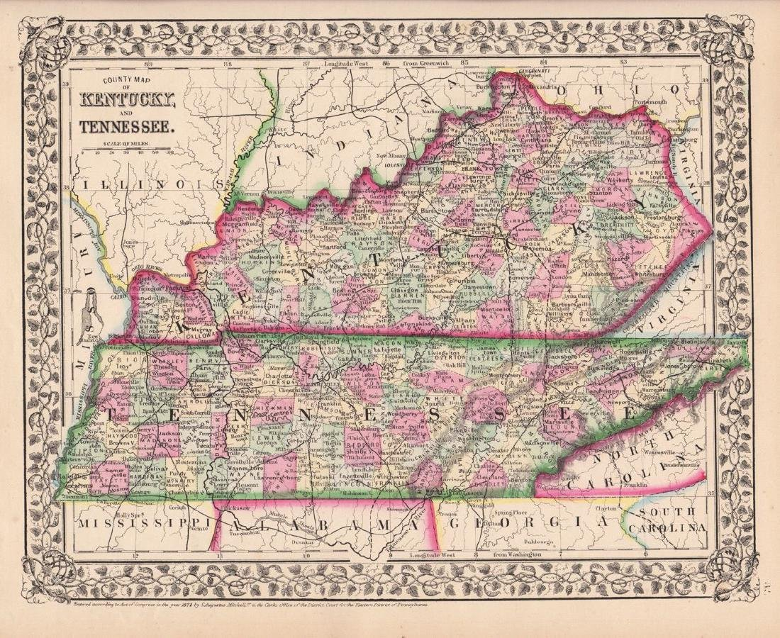 Mitchell: County Map of Kentucky & Tennessee, 1870