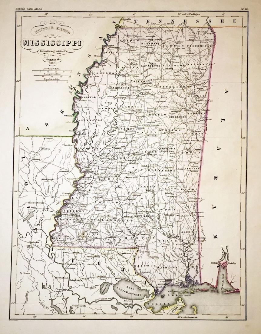 Meyer: Antique Map of Mississippi 1852