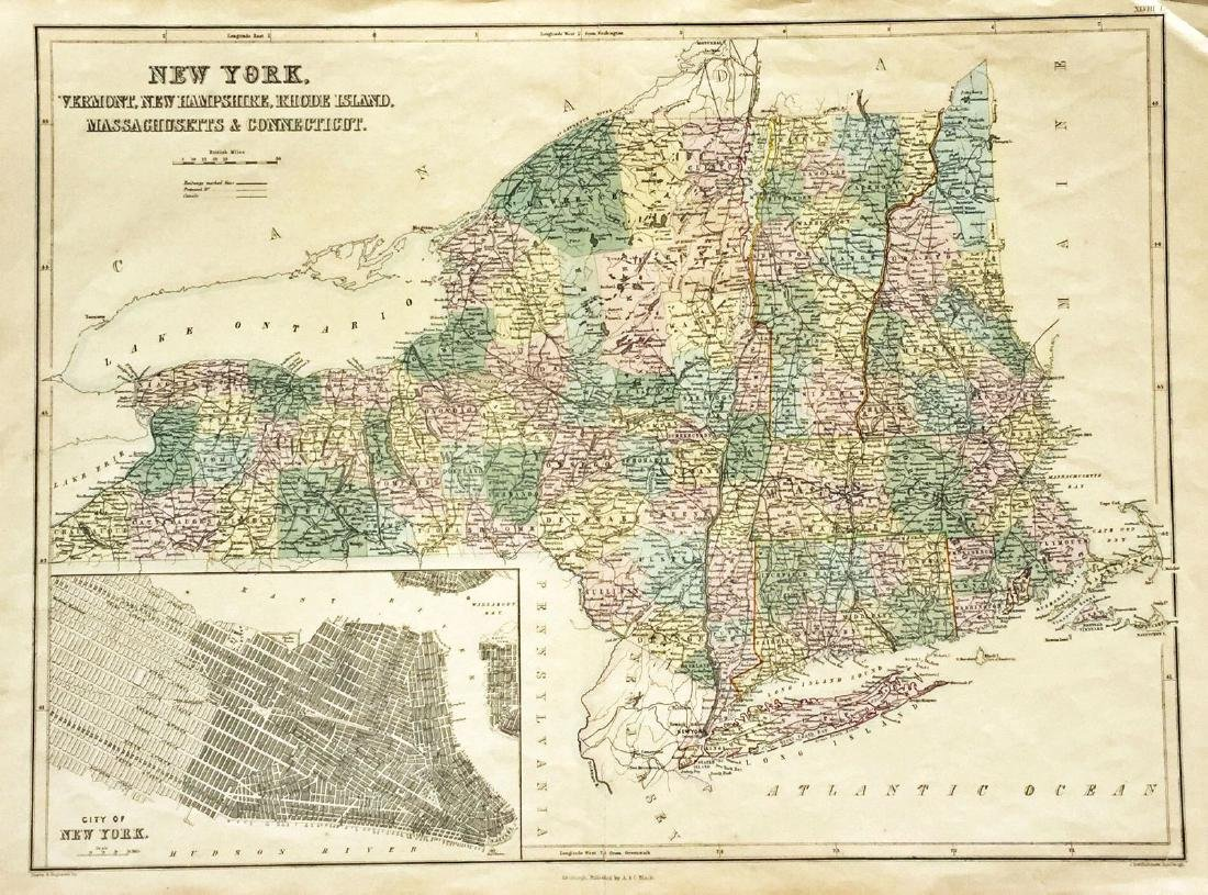 A&C Black: Map of New York & Part of New England, 1874