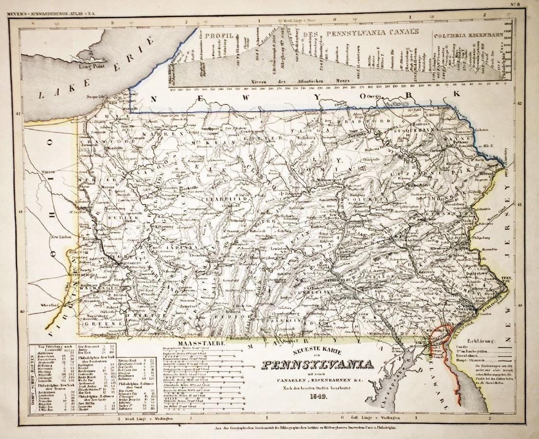 Meyer: Antique Map of Pennsylvania, 1849