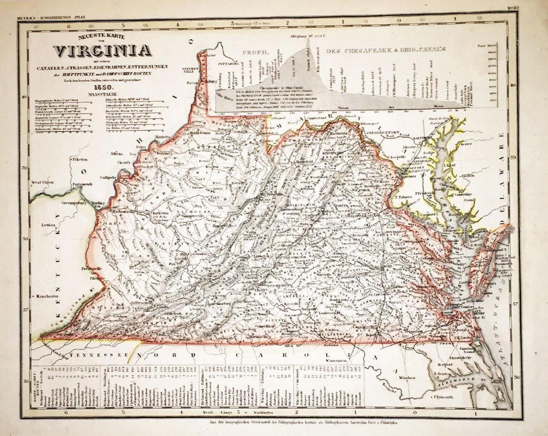 Meyer: Antique Map of Virginia, 1849