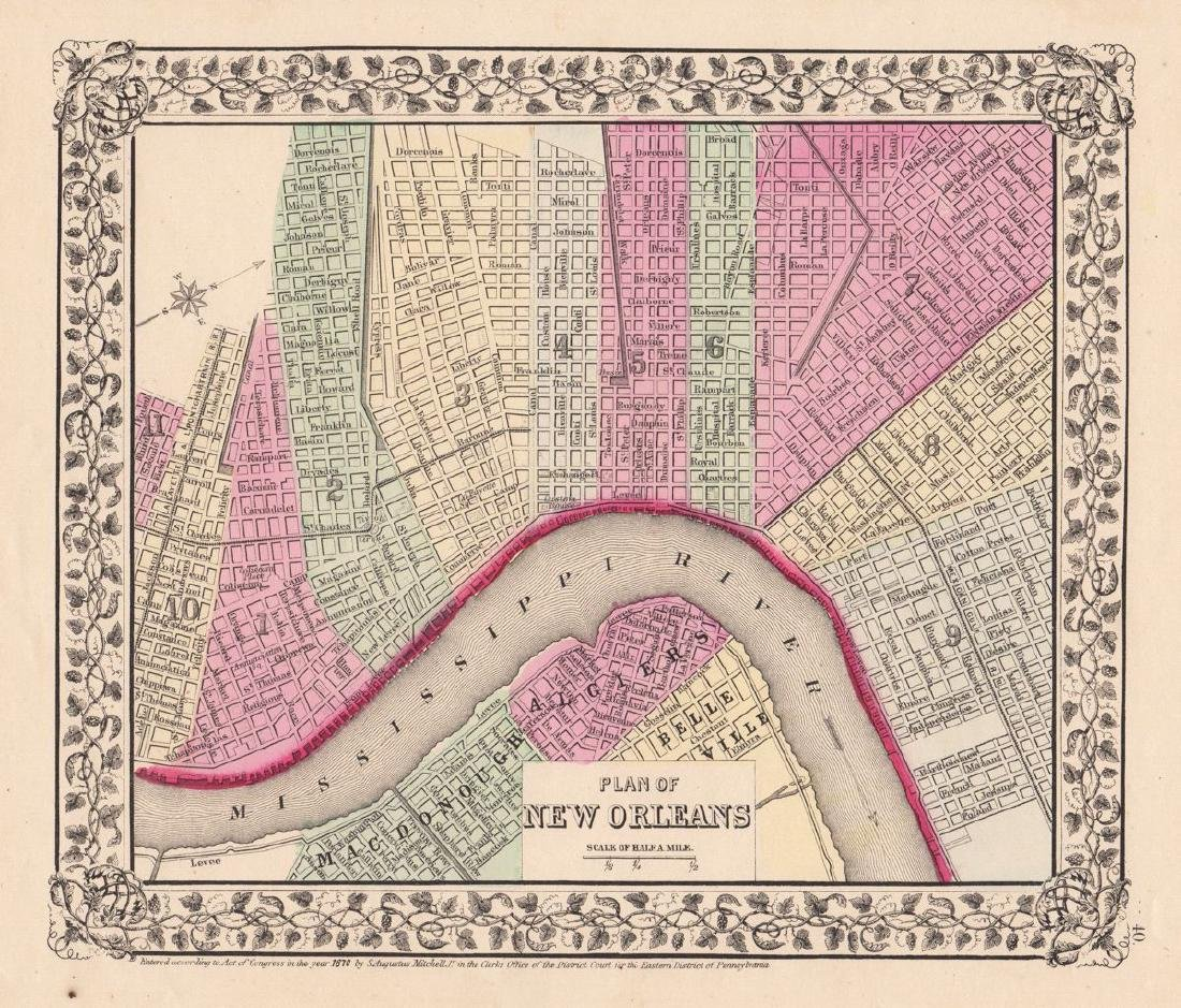 Mitchell: Antique Plan of New Orleans, 1870
