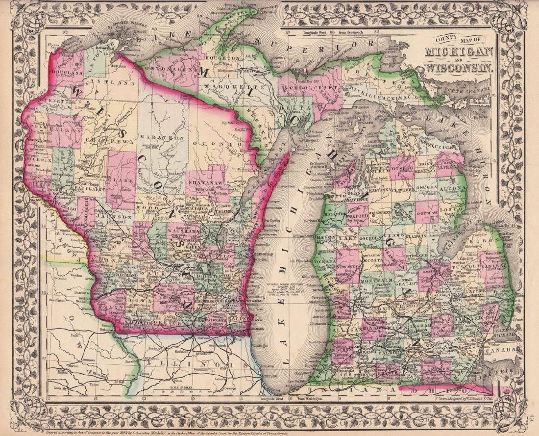 Mitchell: Antique Map of Michigan & Wisconsin, 1870