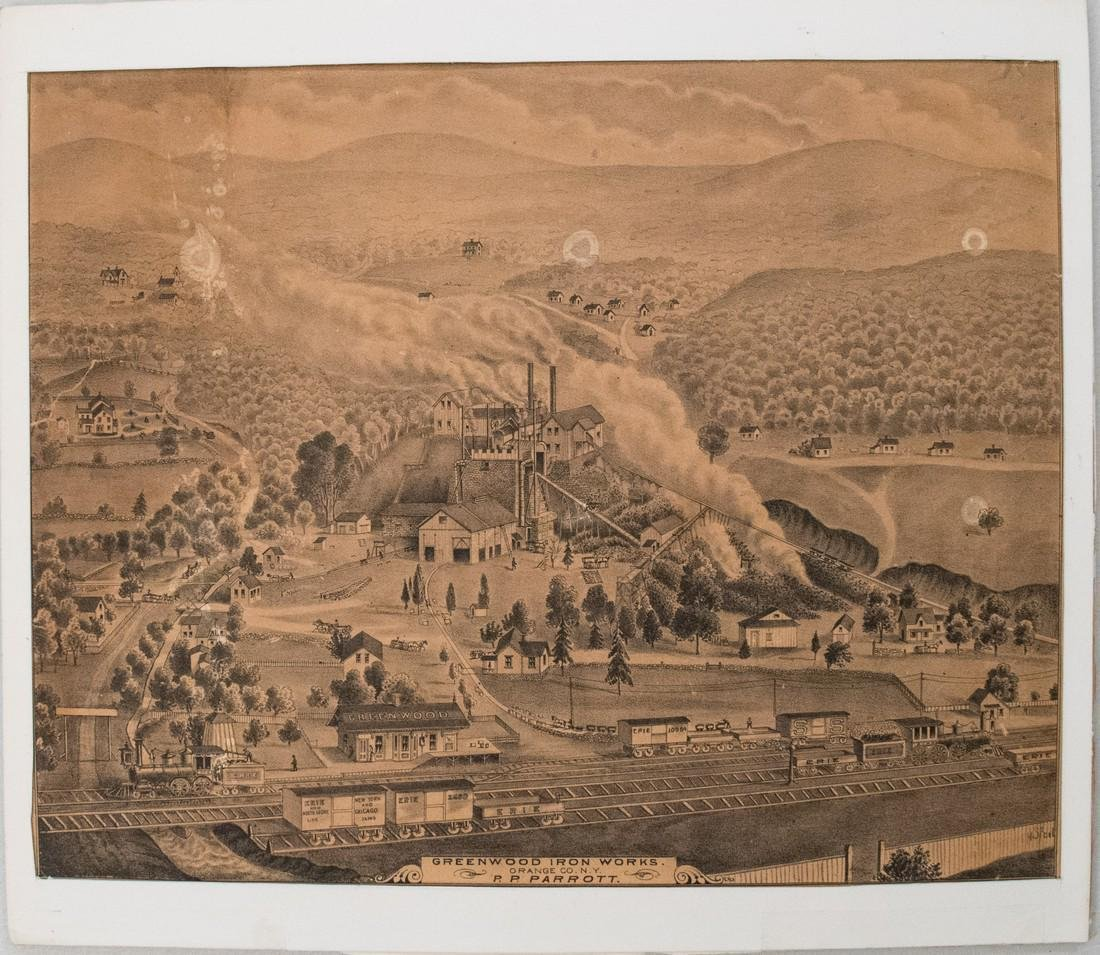 1875 Andreas Birds Eye View of Greenwood Iron Works