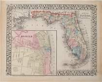 1874 Mitchell Antique Map of Florida