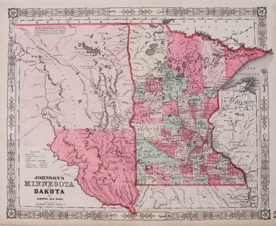 1864 Johnson Map of Dakota Territory and Minnesota