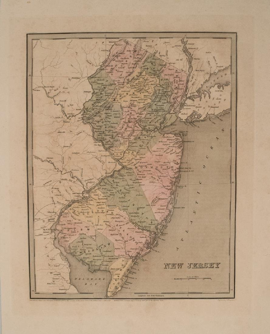 1837 Gordon Antique Map of New Jersey