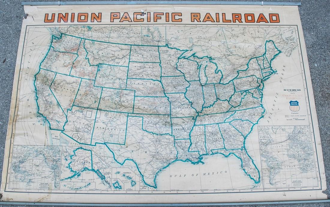 1940 Union Pacific Railroad Routes and USA Wall Map