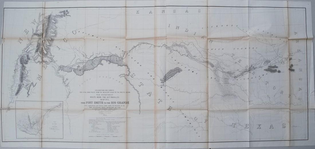1853-4 Whipple Map of Arkansas, Indian Territory