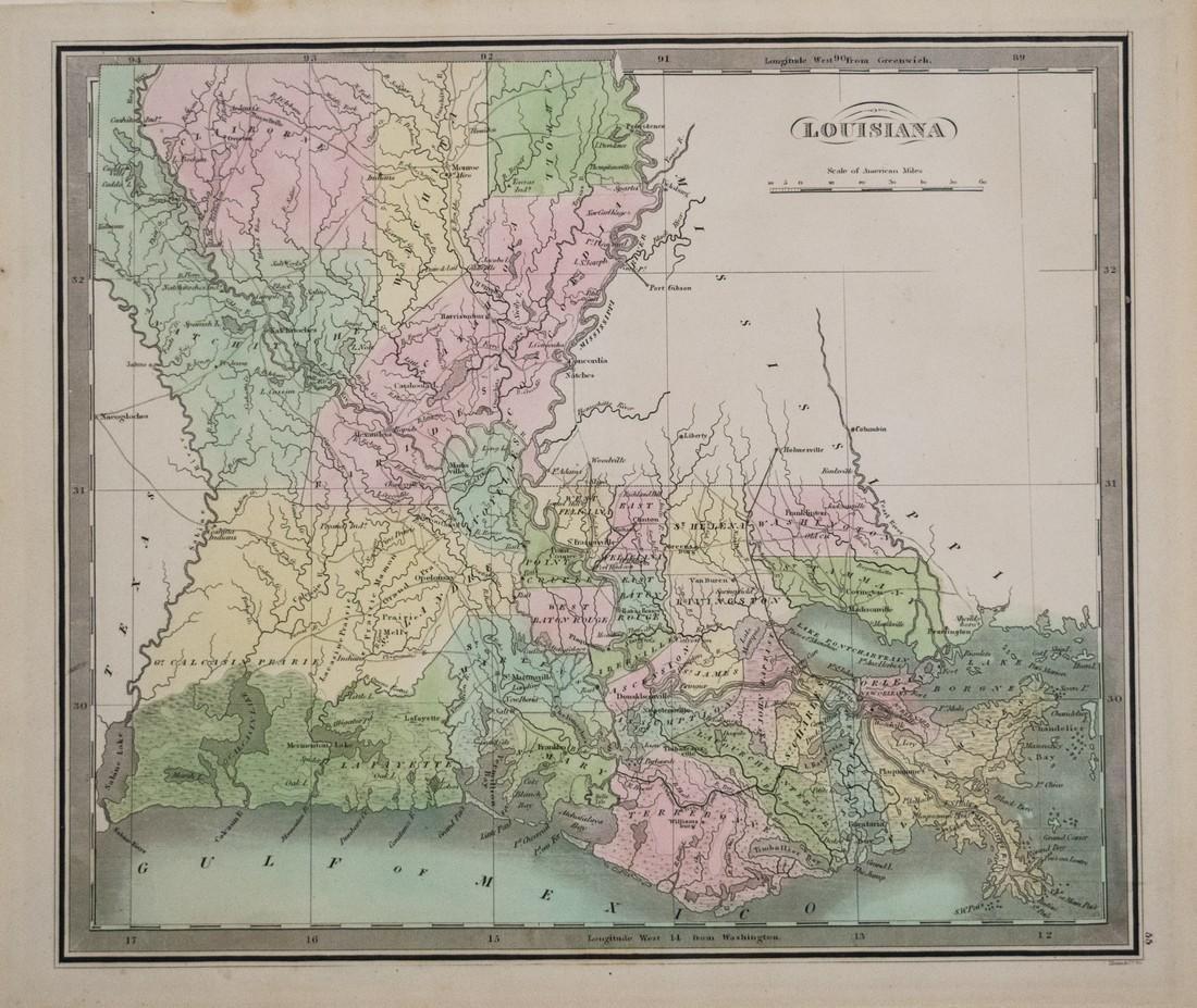 1842 Greenleaf Antique Map of Louisiana