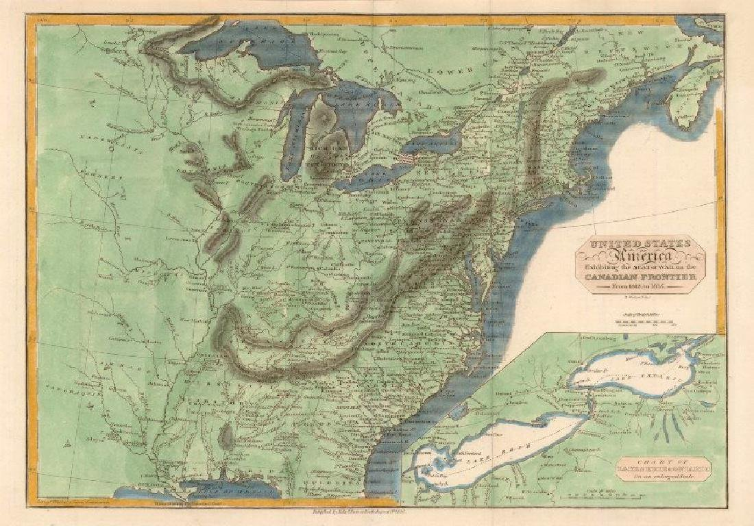 Walker/Baines: Antique Map of the War of 1812, USA
