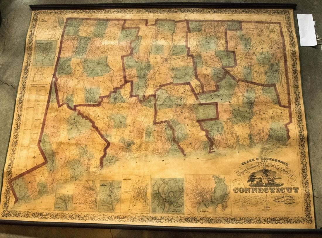1859 Clark & Tackabury Antique Connecticut Wall Map
