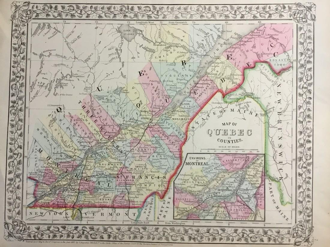 Mitchell: Antique Map of Quebec, 1869