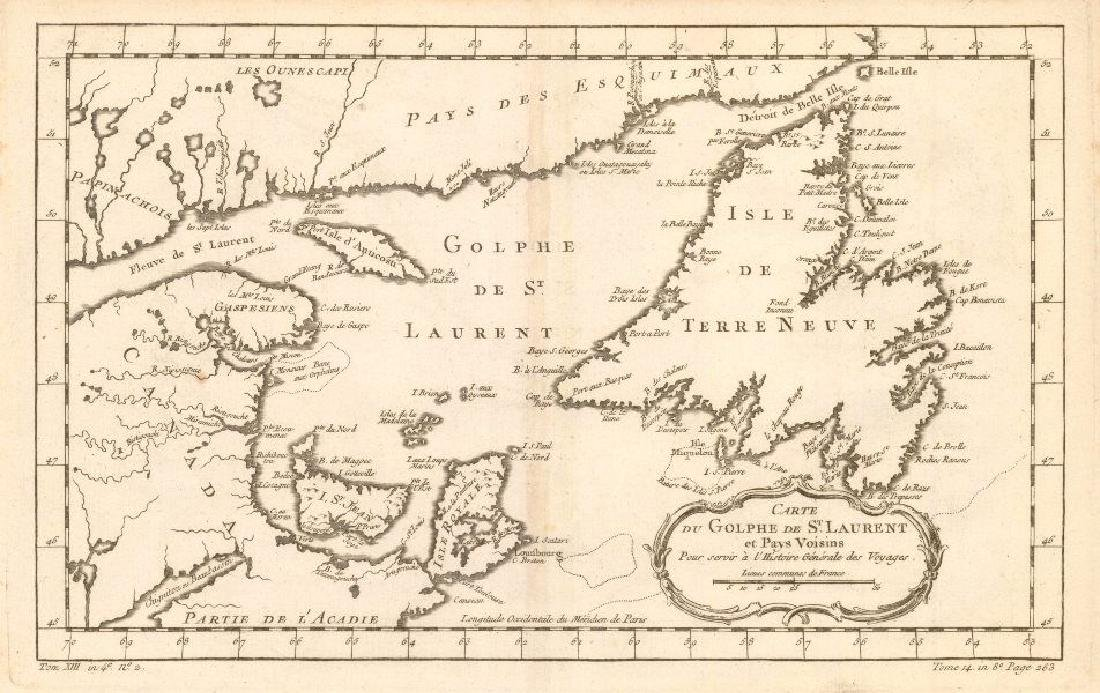 Bellin: Antique Map of Gulf of St Lawrence, 1760