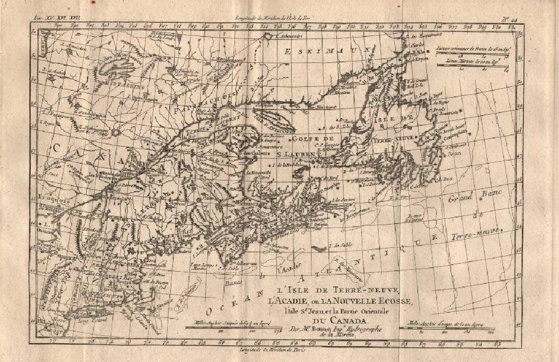 Bonne: Antique Map of Gulf of St Lawrence, 1780