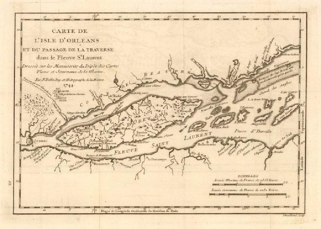 Bellin: Antique Map of Île d'Orléans, 1744