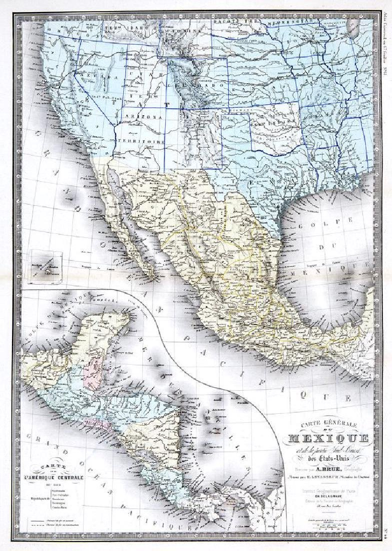 Brué/Levasseur: Antique Map of Mexico/Southwest US 1876
