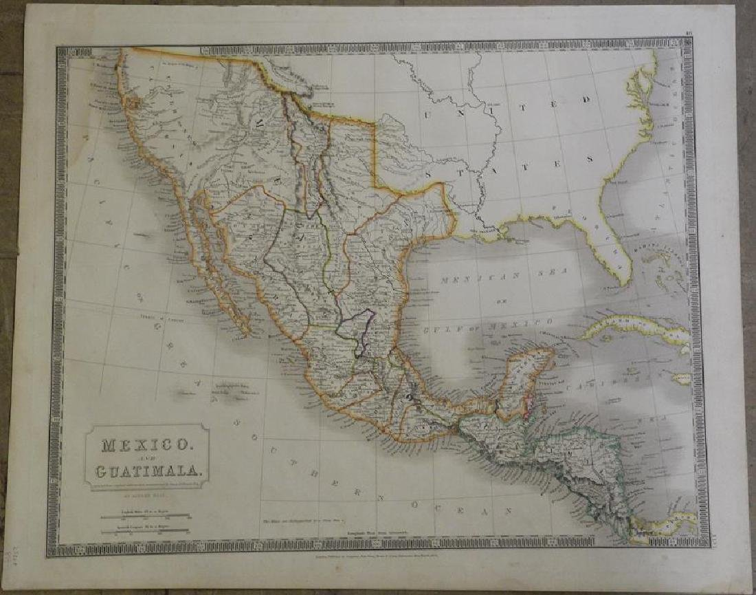 Hall: Antique Map of Mexico and Guatemala, 1828
