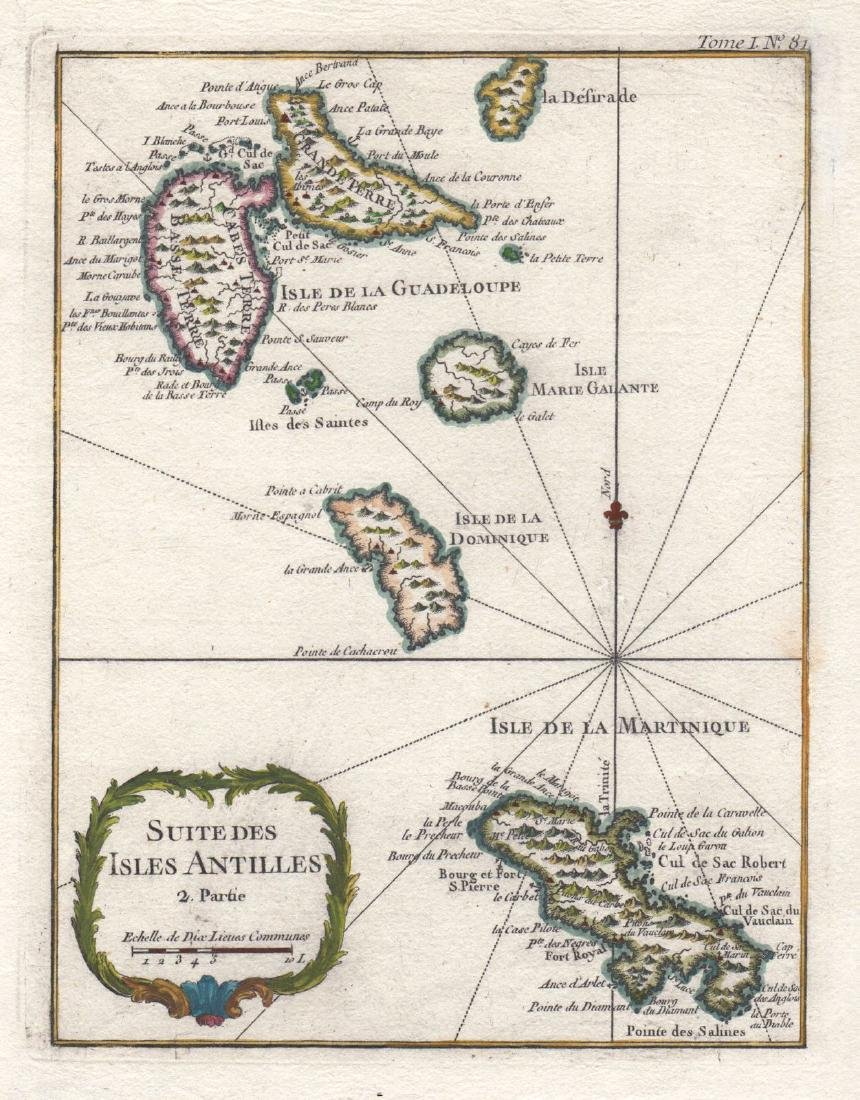 Bellin: Lesser Antilles 2-Guadeloupe to Martinique 1764