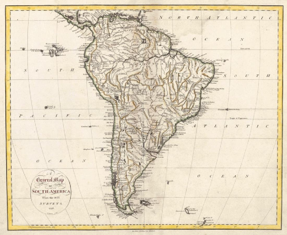 Tanner: Antique General Map of South America, 1796
