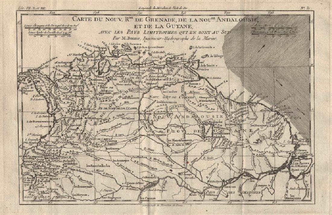 Bonne: Antique Map of Royaume de Grenade, 1780