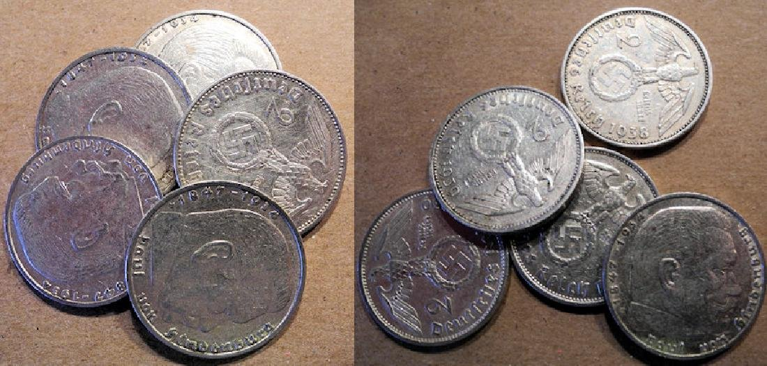 5 silver 2 Mark Coins, Nazi Germany